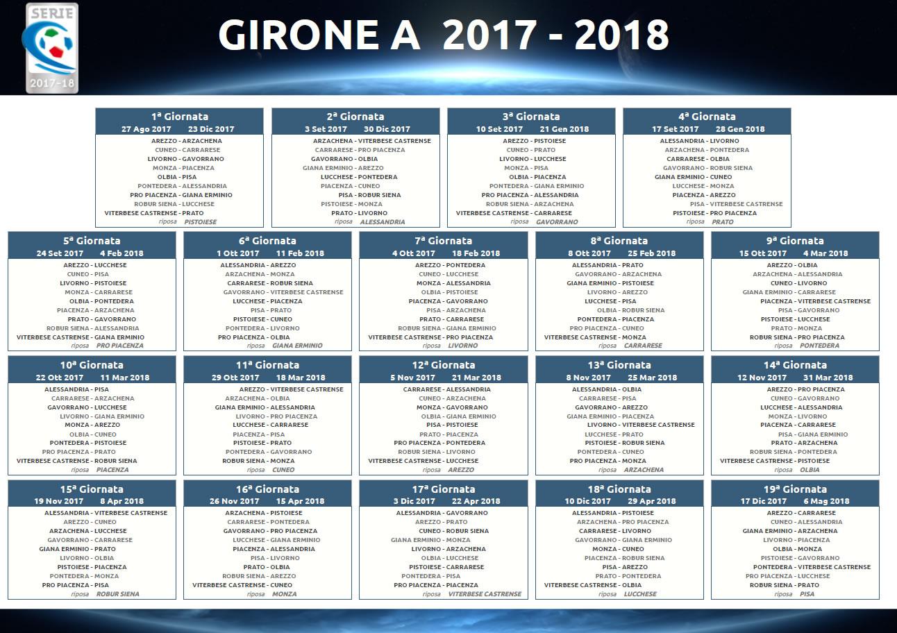 Lega Calcio, Calendario Girone A